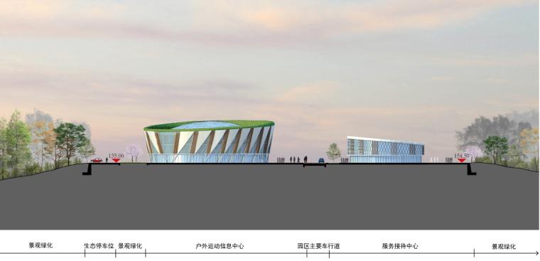 [安徽]大型户外运动基地规划设计方案文本-大型户外运动基地立面图