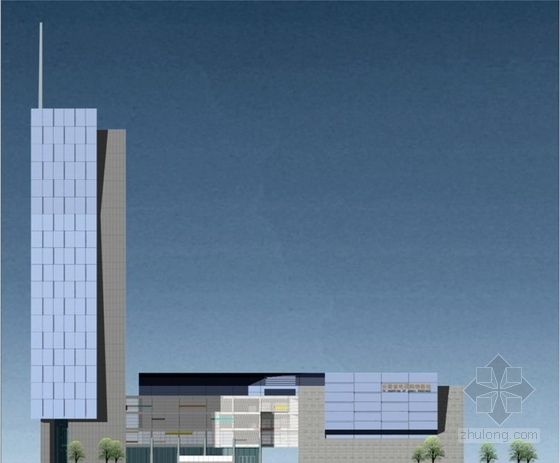 [合肥]大跨度空间广告及电视购物办公综合体建筑设计方案文本(含CAD)-大跨度空间广告及电视购物办公综合体建筑立面图