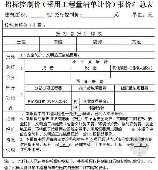 江西省房屋建筑和市政基础设施工程施工投标文件范本(商务标专用格式)