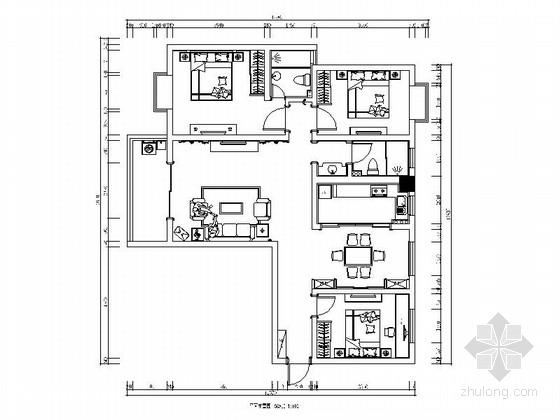 [安徽]欧式精装三居室装修施工图