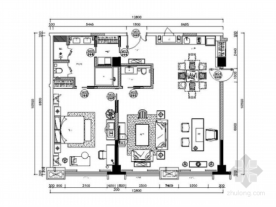 [绵阳]5星温馨3居室客房室内设计CAD施工图(含效果图)