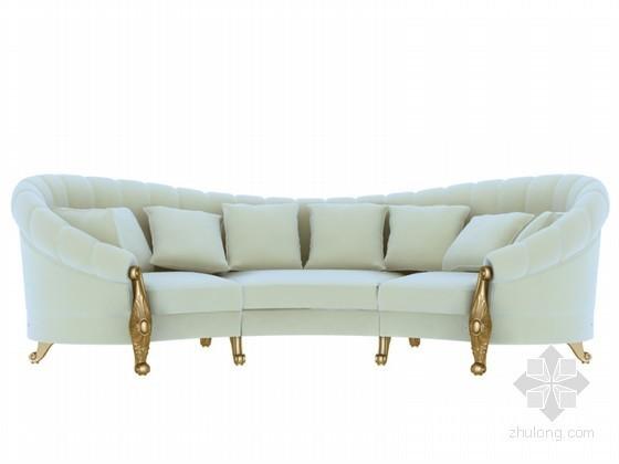 欧式简约沙发3D模型资料下载-简约欧式沙发3D模型下载