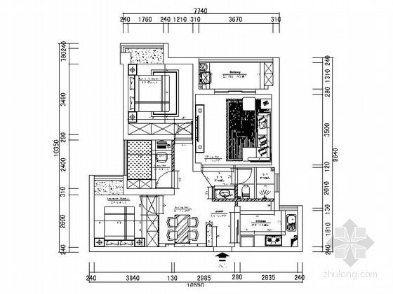[武汉]88平花园洋房欧式风格三居室装修施工图(含效果)