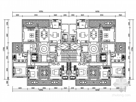 某高层住宅小区两梯两户平面图(263平米)