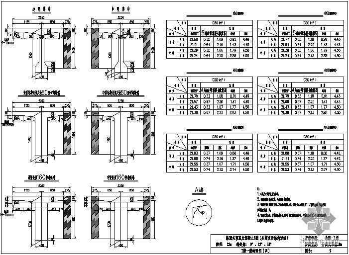 装配式预应力混凝土T梁桥(先简支后结构连续)上部构造通用图[跨径:25m,桥面宽度:分离式路基28.