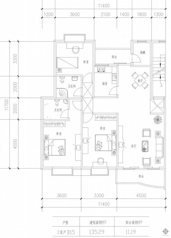 板式多层一梯两户三室一厅二卫户型图(135/135)
