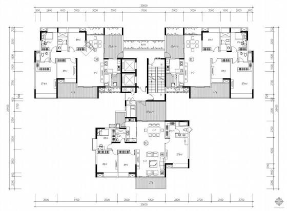 塔式多层一梯三户户型图(142/142/165)