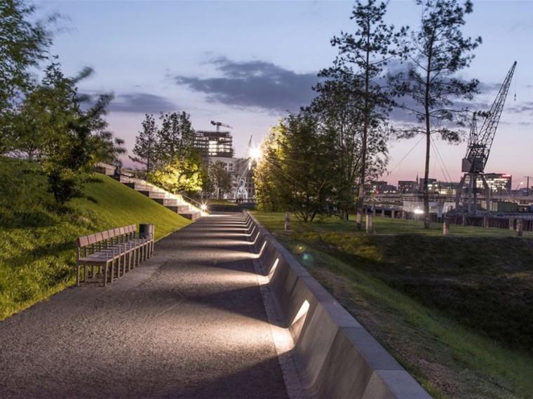 德国人造岛上的绿色公园