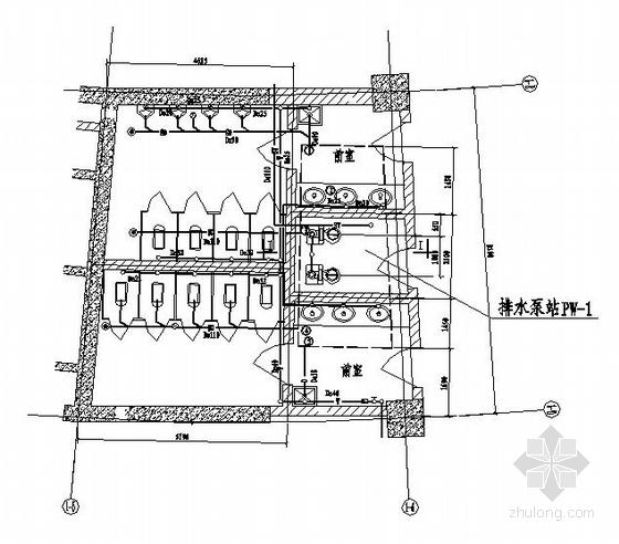 某地下一层排水泵站平剖图