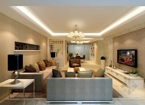 现代三居室家庭装修施工图(含效果图) 效果图