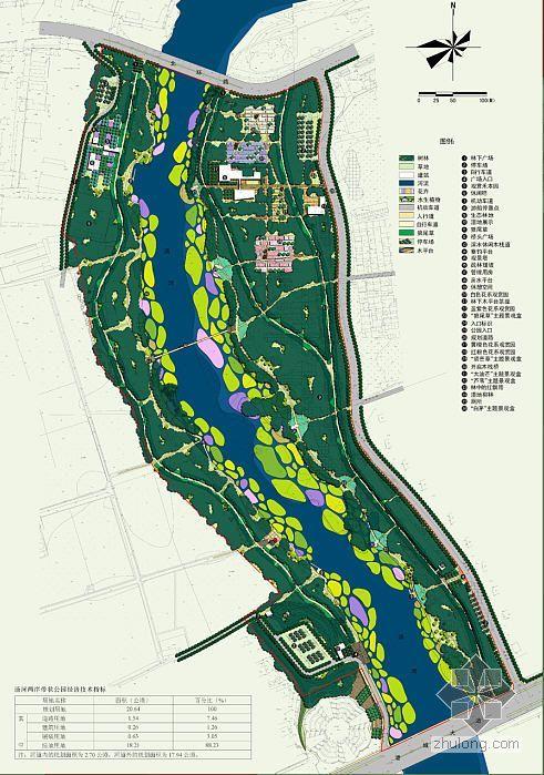 秦皇岛某滨河带状公园规划总图