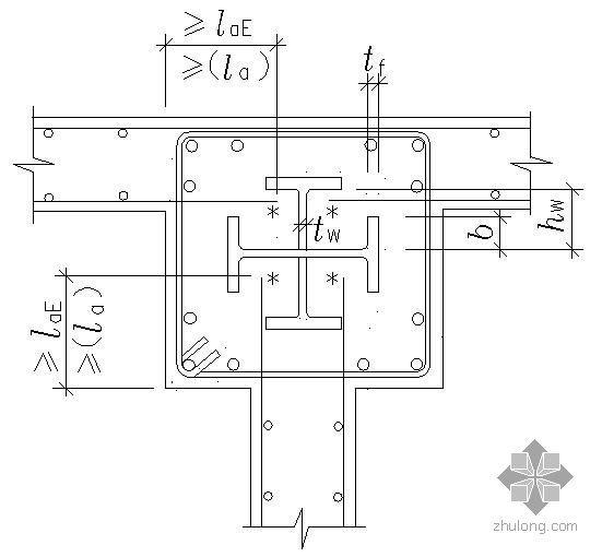 某钢筋混凝土剪力墙与钢骨混凝土柱的连接节点构造详图(一)