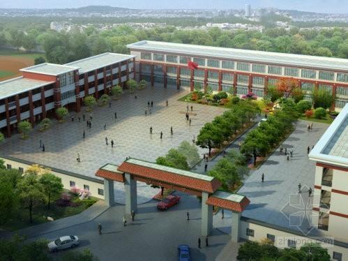 中学校区景观绿化施工图设计(含效果图)