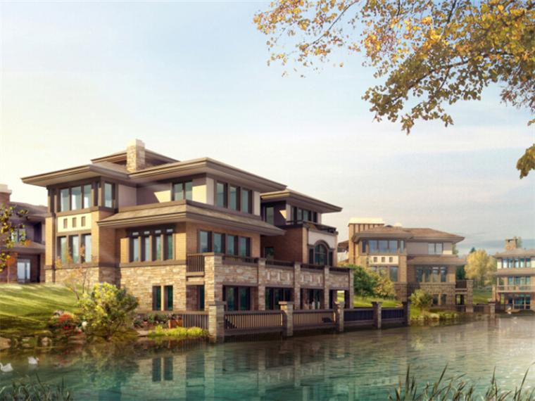 简欧式风格大型别墅区效果图