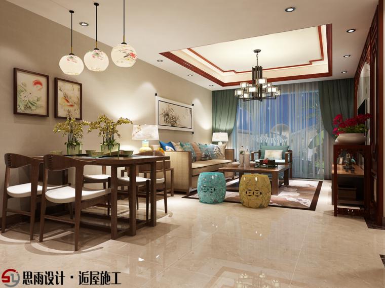 《现代中式》扬州106平中式风格3居室装修设计图_2