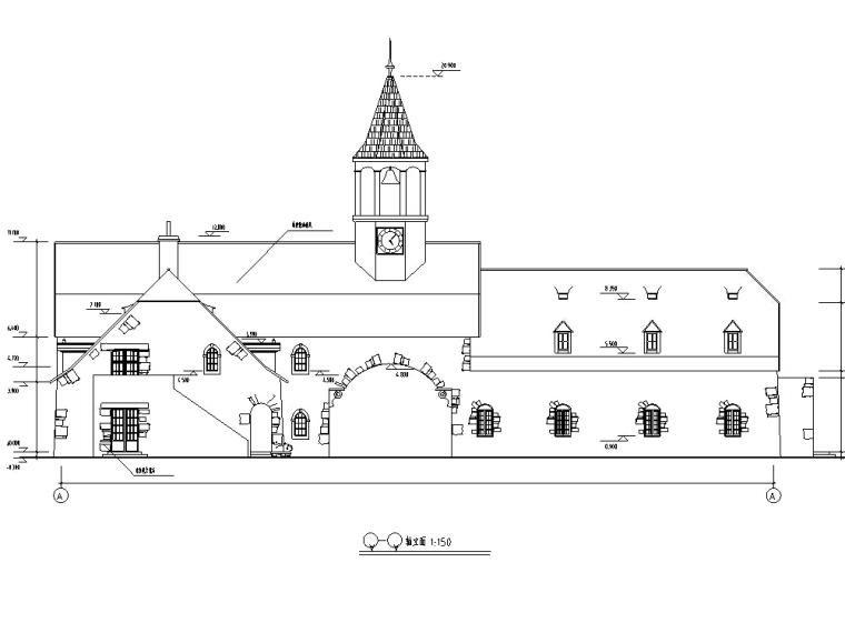 欧式艺术钟楼建筑设计方案施工图CAD
