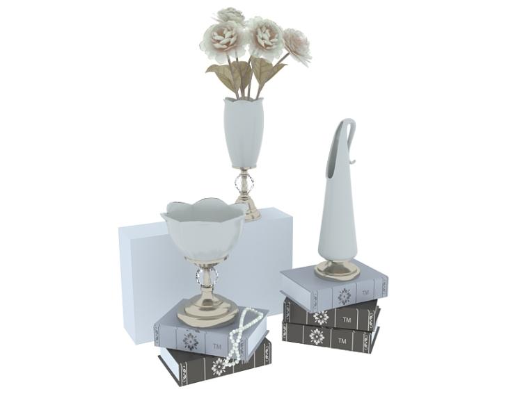 欧式白净花瓶3D模型下载
