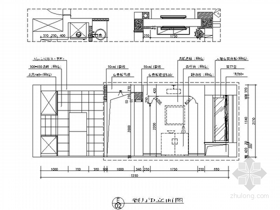 [江苏]河畔花园简欧两居室样板间装修施工图餐厅立面图