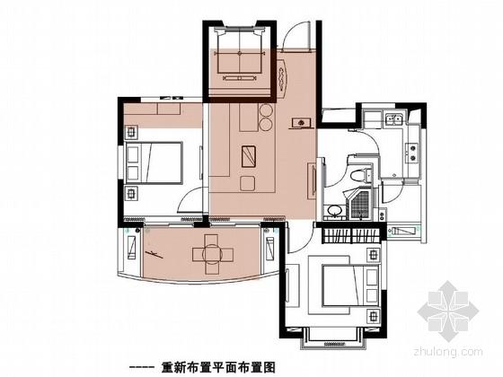 [湖州]温馨现代风情85平两居室样板房软装设计方案