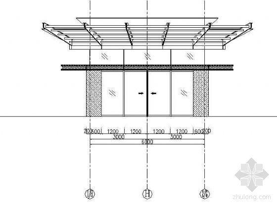 某钢结构点抓玻璃幕墙雨蓬结构示意图