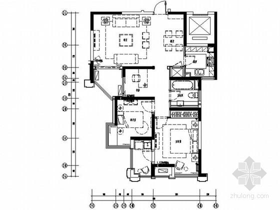 [原创]精品温馨70平欧式风格三居室室内装修施工图(含高清效果 推荐!)