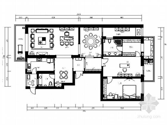 [福州]中式风格两居室样板房CAD装修图(含效果)