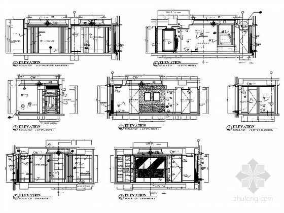 [广东]全球连锁尊贵五星级国际豪华酒店设计装修施工图客房立面图