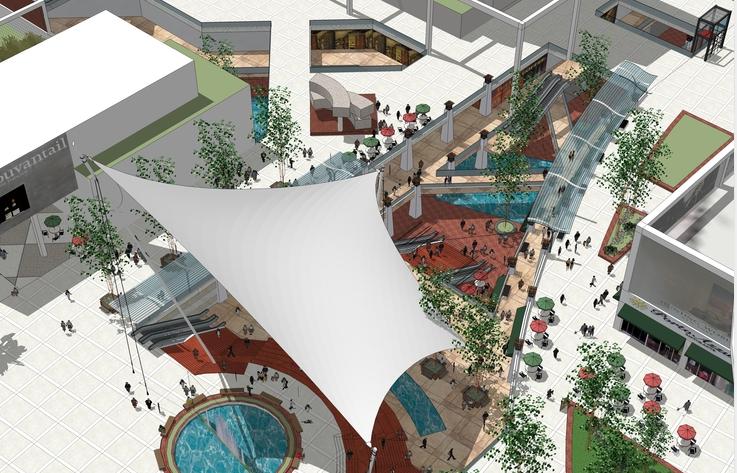现代下沉商业广场sketchup模型