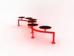 弧形连体椅子3D模型下载