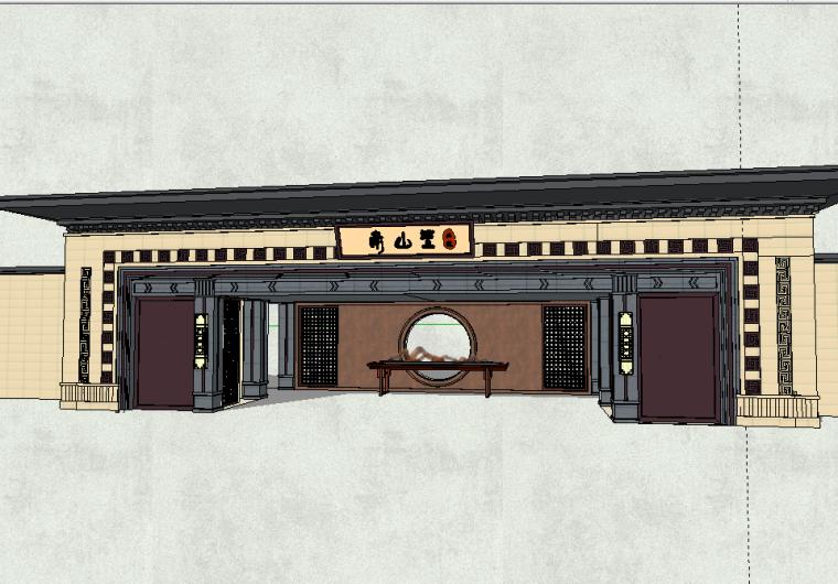北京南山里居住区小区入口SU模型设计(新中式风格)