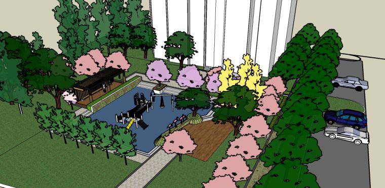 儿童活动场地景观su模型