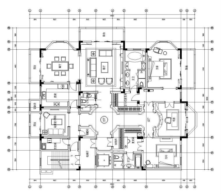 [江苏]南京天正桃源大平层样板房施工图设计(附效果图+软装设计
