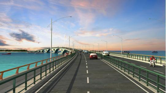 马来西亚马累机场跨海桥效果图