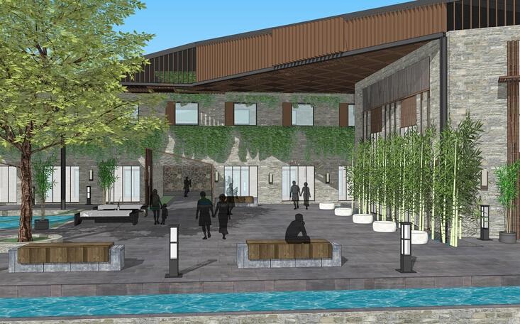 山地中式风格多层商业酒店建筑sketchup模型