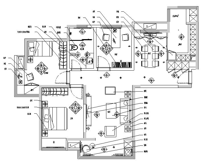 [江苏]简约美式风格97平米私人住宅设计施工图(附效果图)