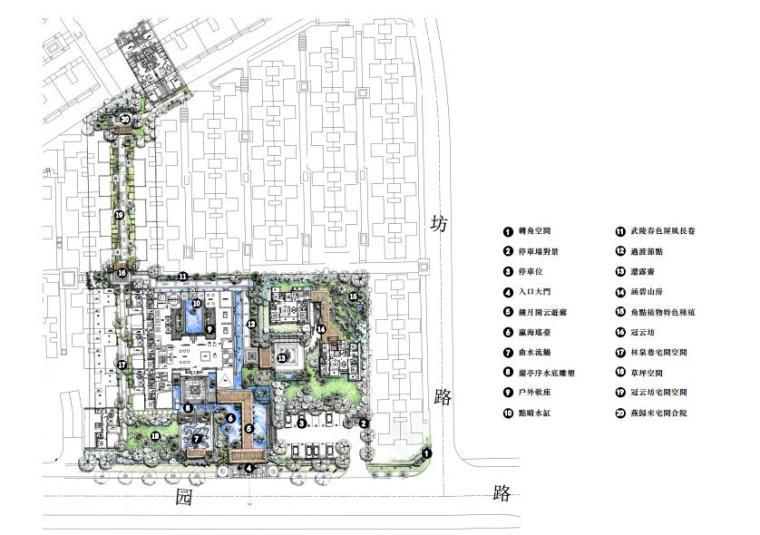 [江苏]古典园林风格别墅庭院景观设计方案文本(效果图精美)-总平面图