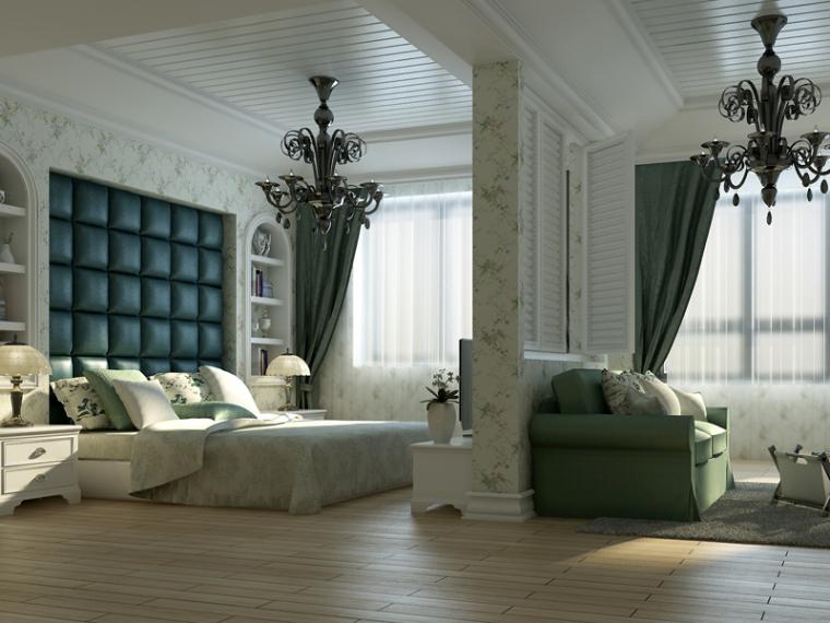 白色欧式卧室3D模型下载