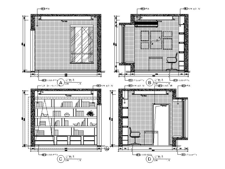 现代简约风格样板间设计施工图(含效果图)_5