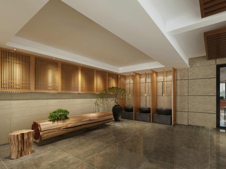 日式木质禅意空间3D模型