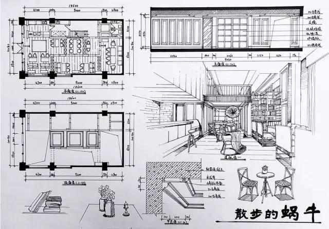 室内手绘 室内设计手绘马克笔上色快题分析图解_38