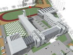 现代小学教学楼建筑规划方案sketchup模型