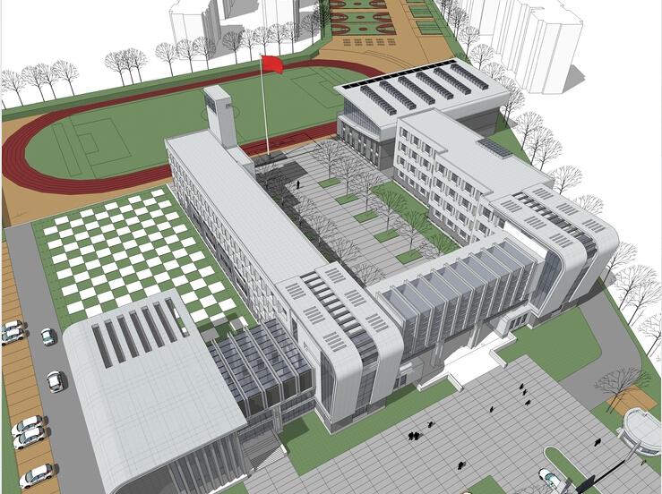 vray渲染建筑教学资料下载-现代小学教学楼建筑规划方案sketchup模型