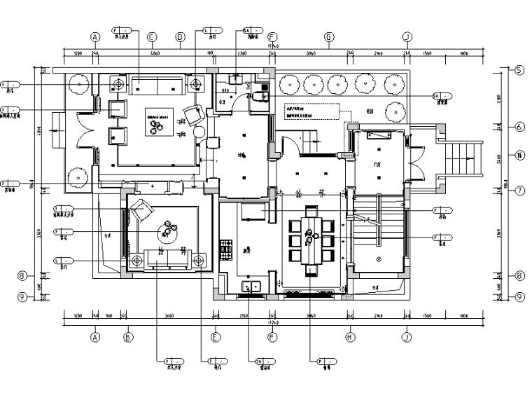 [上海]风景水岸样板房三居室住宅设计施工图(附效果图)