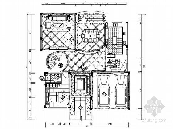 [东莞]环境幽雅简约欧式三层别墅样板间CAD装修施工图