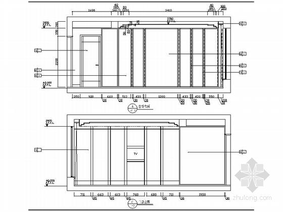精品时尚简约现代三居室室内装修施工图(含效果图)主卧立面图
