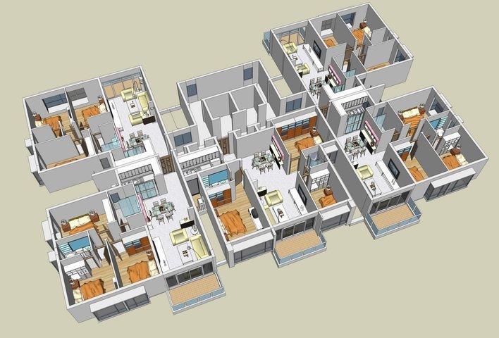 U花架施工图资料下载-住宅户型的合理尺度(经济型、舒适型、享受型)