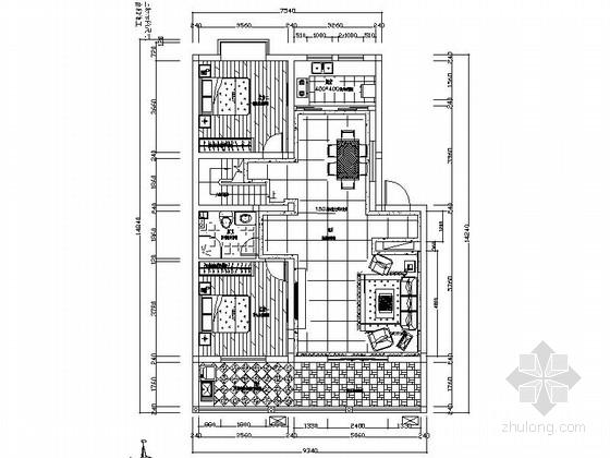 [原创]新古典主义复式两层住宅室内设计CAD施工图(含效果图)