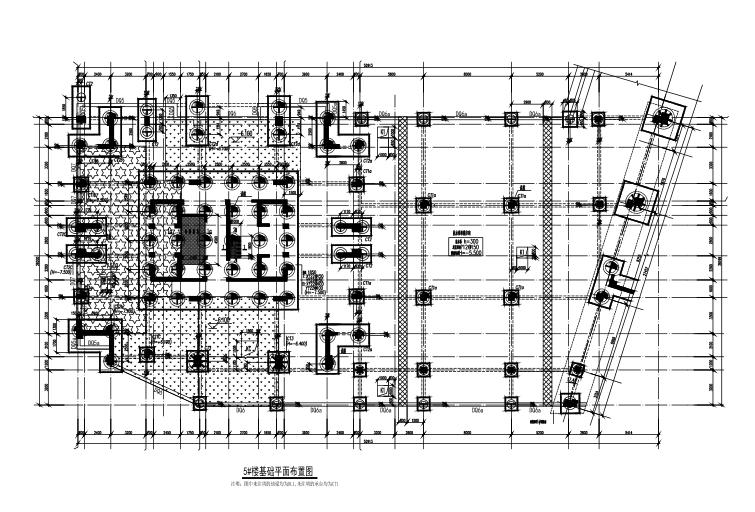 25层框架剪力墙结构综合楼建筑结构施工图-基础平面布置图