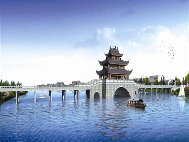 [湖南]外包木钢框架观景台钢筋混凝土板拱桥跨河景观人行桥设计图87张CAD附计算书61页