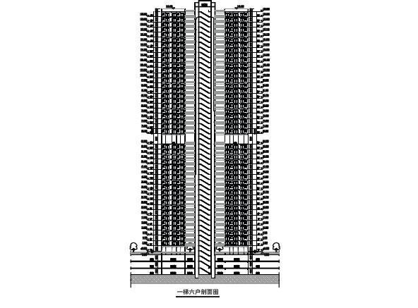 现代风格顶级生态豪华超高层住宅及高层住宅建筑剖面图